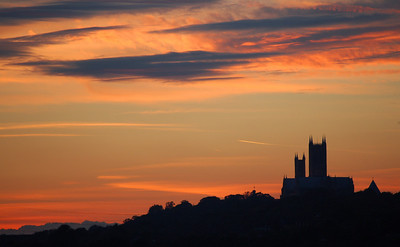 Lincoln Cathedral sunset from near Washingborough