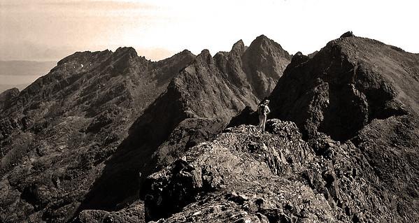 Sepia conversion of the Sgurr na Banachdich ridge looking south