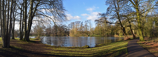 06.02.15 - A Walk in the Park  This is a 2 shot photomerge panorama taken yesterday afternoon on my walk back from town. Boultham Park is a small detour from my usual route, but well worth the effort on a day like this if I have the time. If you look closely you can see that there is still a lot of ice on the lake. This morning it feels a bit warmer, but there is no sign of the sun.