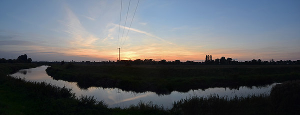 30.09.15 - Sunset at the River Bend  This is a 2 shot photomerge panorama at sunset over the river near home. I usually try to avoid electricity wires but I thought they added something here