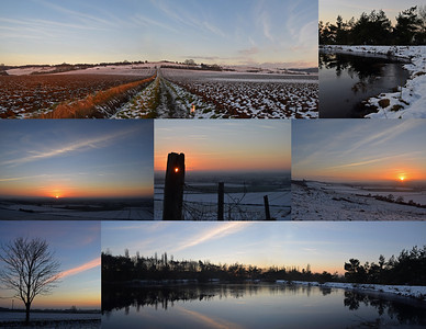 28.12.14 - Snowy Sunset  We've not had any more snow but the freezing temperature has meant that what fell the other night hasn't all melted yet. It made for a beautiful sunset dog walk yesterday, hope you can see Mr Willis in the top panorama?