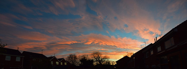 17.04.14 - Look Up!  It was a grey day yesterday, then a few minutes before sunset this happened! This is a 2 shot photomerge panorama taken in our back garden, if only I'd had time to get down to the river for some reflections, but we had no warning that something like this was in prospect.