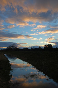 """17.01.14 The Ditch!  This is the sunset sky reflected in an artificial drainage ditch. Rest assured it doesn't look this nice in the light of day :)  Today I am shooting some publicity shots for our WW1 movie """"Tell Them of Us"""", watch this space"""
