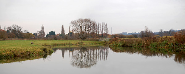 03.12.13 - Still Waters  This is a 2 shot photomerge panorama down by the river yesterday, the water was like a mirror under the grey skies