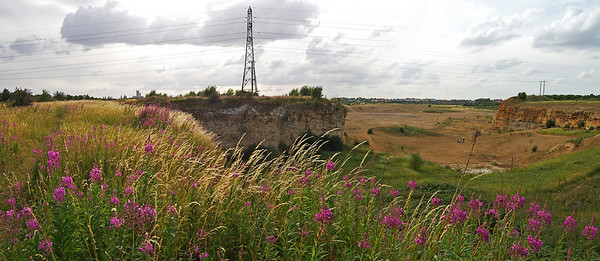 15.07.10 - The Opposite View  Completely by accident this is the reverse view to yesterday's daily, although about the only common feature is the pylon. This is a 2 shot photomerge panorama that I took on another short walk round the quarry this evening. This was by far the most I've done this week, with my bashed up foot on top of my general illness, and it did me good to get out for a little while.   I'm shooting Steve and Sarah's wedding this Saturday, so I hope things continue to improve a lot more. I've added more pics from this evening to the gallery here   http://www.lightanddreamsphotography.com/gallery/5158709_C4LBj#936062520_iUBPD including what I think are my first good grasshopper pics and some nice new wildflowers.