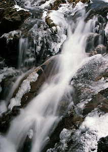 Icy waterfall on the south side of Aonach Beag, West Highlands of Scotland